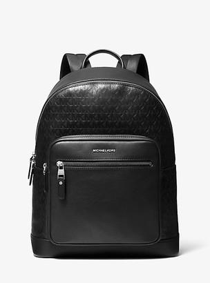 Michael Kors Hudson Logo Debossed Leather Backpack - Black