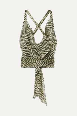 Santi Cloe Cassandro - Net Sustain Cropped Zebra-print Silk-crepon Wrap Top - Army green