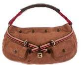 Fendi Mixed-Media Belted Hobo