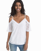 White House Black Market Cold-Shoulder Lace Top