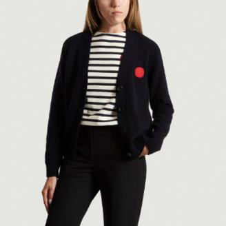 Loreak Mendian - Navy Blue Dot Cardigan - xs   wool   navy blue - Navy blue