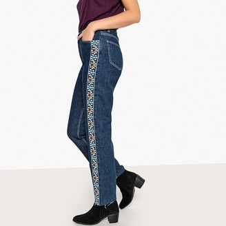 """La Redoute Collections Embroidered Side Stripe Boyfriend Jeans, Length 27"""""""