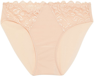 Wacoal Stretch-lace And Jersey Mid-rise Briefs
