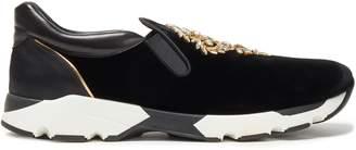 Rene Caovilla Rene' Caovilla Embellished Satin, Leather And Velvet Slip-on Sneakers