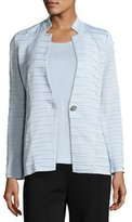 Misook Sliced One-Button Jacket, Light Blue, Plus Size