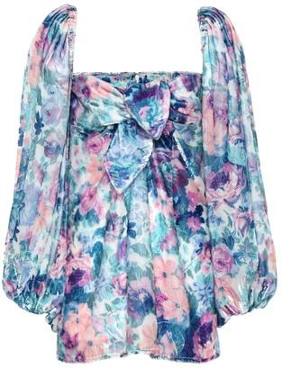 ATTICO The Floral velvet minidress