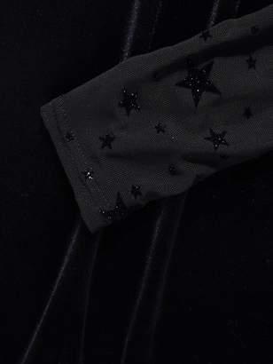 Quiz Black Velvet Star Print Long Sleeve Mesh Sweetheart Bodycon Dress