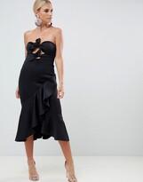 Asos Design DESIGN bandeau knot front pephem midi dress