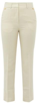 Petar Petrov Hernan Houndstooth Wool-blend Trousers - Womens - Ivory