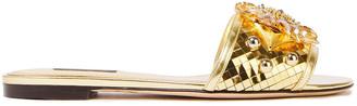 Dolce & Gabbana Embellished Metallic Leather Slides