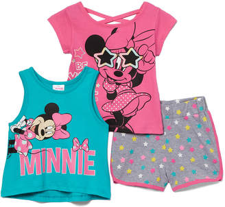 H.I.S. International Girls' Active Shorts - Minnie Mouse 'Be You -Tiful' Criss-Cross Tee Set - Girls