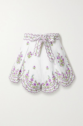Zimmermann Poppy Belted Scalloped Embroidered Linen Shorts - Ivory
