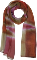 Mila Schon Gradient Pink/Orange & Stripe Print Silk Long Scarf