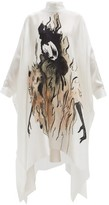 Giles Parkin Painted Silk-satin Dress - Womens - Ivory Multi
