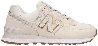 New Balance 574 Sneakers In White Suede And Fabric