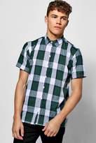 boohoo Green Check Short Sleeve Shirt