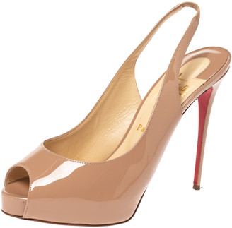 Christian Louboutin Beige Patent Leather Private Number Peep Toe Slingback Sandals Size 40