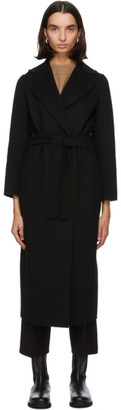 S Max Mara Black Wool Poldo Wrap Coat