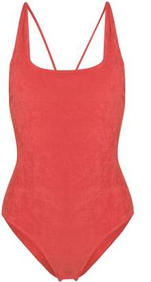 Ganni terry cloth one-piece swimsuit