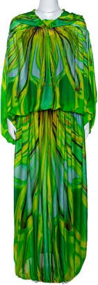 Roberto Cavalli Green Wave Print Silk Maxi Dress M