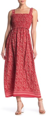 Max Studio Tie Strap Smocked Bodice Maxi Dress