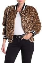 Vigoss Faux Fur Leopard Print Bomber Jacket
