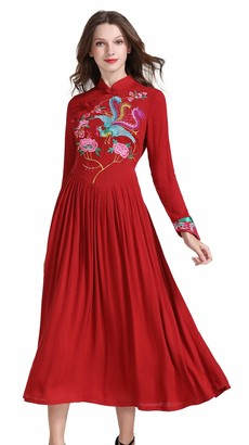 shineflow Women's Long Sleeve Chinese Traditional Style Phoenix Floral Embroidered Long Dress (Burgundy S)