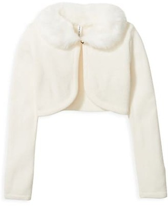 Janie and Jack Baby's, Little Girl's & Girl's Faux Fur Collar Cardigan