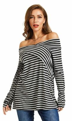 SONJA BETRO Women's Stripe Knit Off Shoulder Long Sleeve Tunic Top/101 Black/Grey/Small