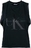 Calvin Klein Jeans logo print tank top - women - Cotton/Polyester/Spandex/Elastane/Lyocell - M