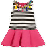 Zoë Ltd Sleeveless Striped Ponte Flounce Dress, Multicolor, Size 2T-6X