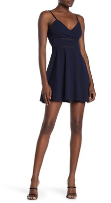 Rowa Ladder Trim Surplice Neck Skater Dress