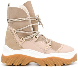 INUIKII Chunky Shearling-Lined Ankle Boots