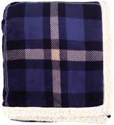 "Simplicity Faux Fur Luxury Lambswool Sherpa Plain Throw Blanket 50""x60"", Blue"
