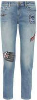 Karl Lagerfeld Appliquéd Mid-rise Skinny Jeans - Mid denim