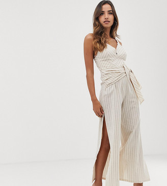 Parallel Lines linen jumpsuit with tie front in pinstripe-Beige