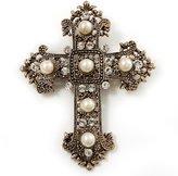 Avalaya Large Victorian Filigree Imitation Pearl Crystal Cross Brooch (Antique )