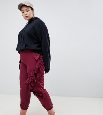 Asos DESIGN Curve ruffle joggers in burgundy