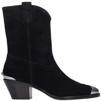 Ash Famous Texan Ankle Boots In Black Suede