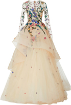 Monique Lhuillier Long Sleeve Embellished Gown