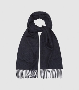 Reiss ROWE WOOL CASHMERE BLEND SCARF Navy