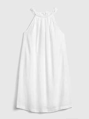 Gap Tie-Back Sleeveless Halter Dress in Linen-Cotton