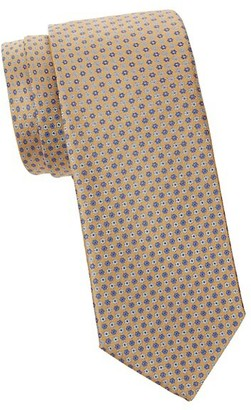 Canali Embroidered Floral Silk Tie