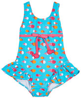 Florence Eiseman One-Piece Ruffle Fish-Print Swimsuit, Multicolor, Size 2T-4T