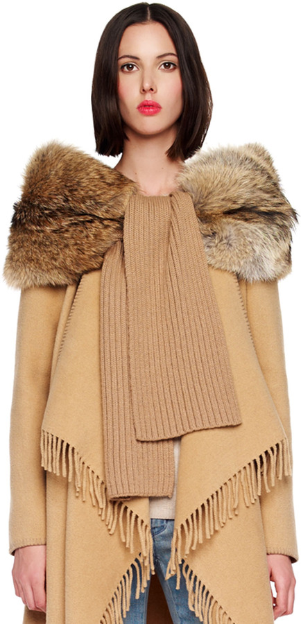 MICHAEL Michael Kors Ribbed Scarf with Fur