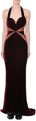 Stella McCartney Sweetheart-Neck Lace-Inset Velvet Evening Gown