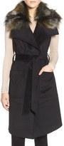 French Connection Women's Faux Fur Collar Wrap Vest