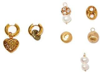 Timeless Pearly Mismatched 24kt Gold-plated Earrings And Charm Set - Gold