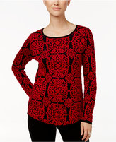 Charter Club Petite Jacquard Medallion Sweater, Only at Macy's