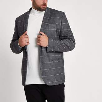 River Island Mens Big and Tall Grey check skinny fit blazer